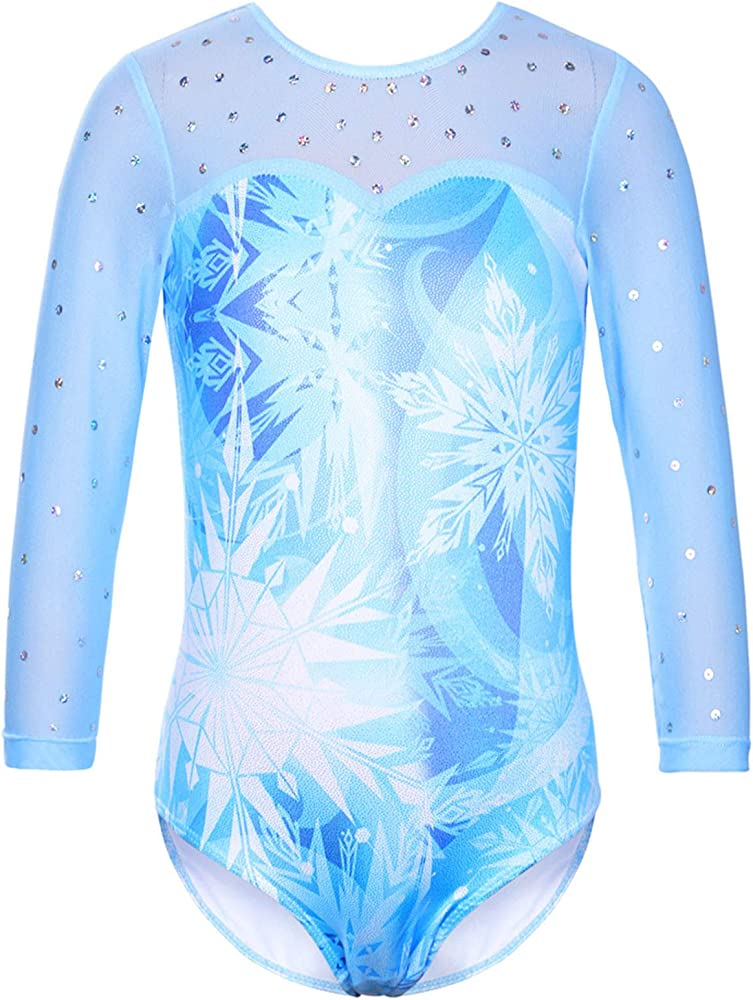 Leotards Sparkle Ballet Dance Dress One Piece Sleeveless Gymnastics Athletic Costume for Little Girl 4-8 Years Old