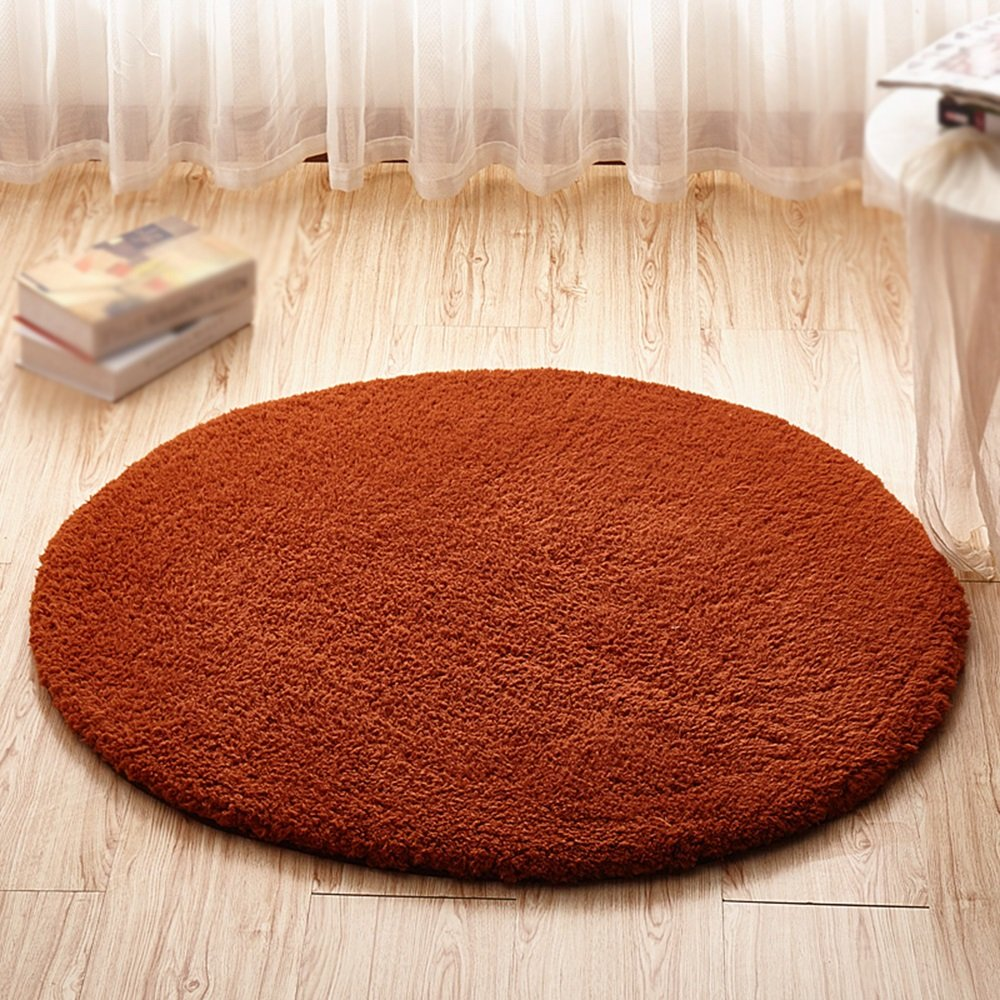 Brown carpet / computer chair swivel mat / hanger children bedroom bedside blanket / living room study desk non-slip round mat ( Size : Diameter 200cm )