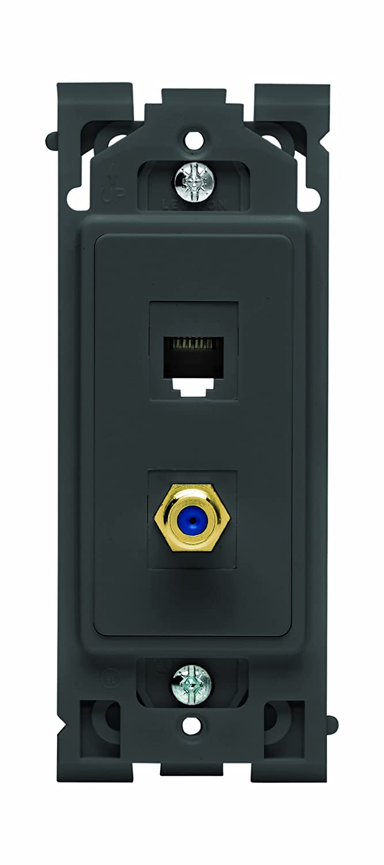 in Navajo Sand Leviton Renu QuickPort Phone//TV Insert RE640-2NS