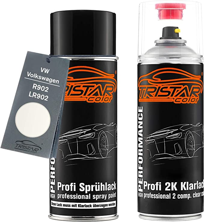 Tristarcolor Autolack 2k Spraydosen Set Für Vw Volkswagen R902 Lr902 Grauweiss Basislack 2 Komponenten Klarlack Sprühdose Auto
