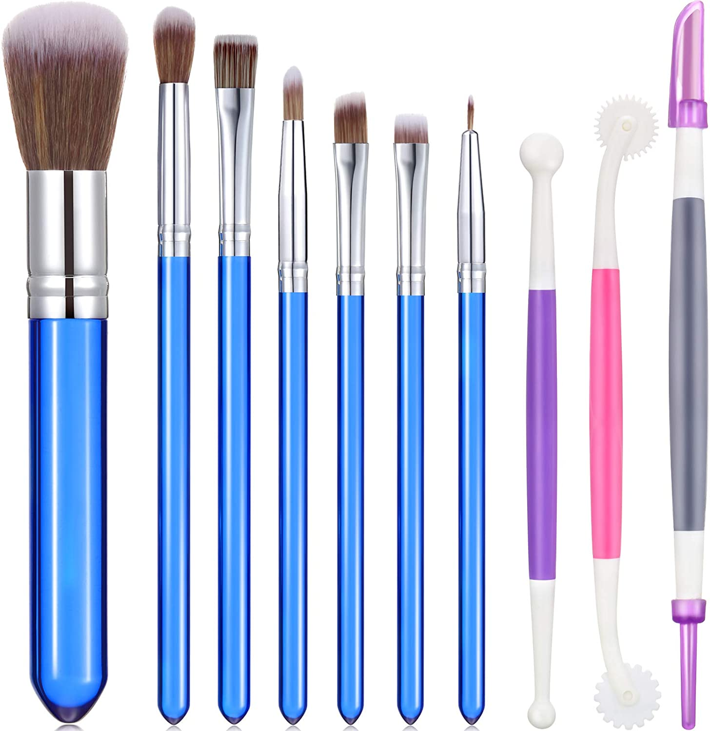 10 Pieces Cookie Decoration Brushes Set Cake Baking Brushes Cookie Decorating Supplies Food Paint Brush for Chocolate Sugar with Fondant and Gum Paste Tool (Blue)