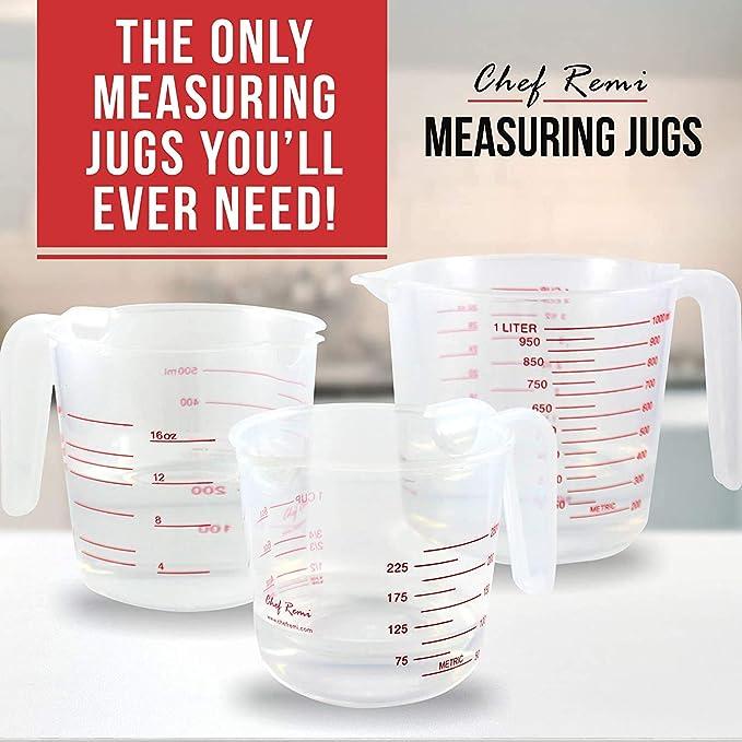Easy to Read Measurements Soft Grip Measuring Jug 1 Litre Microwave Safe MakMed Plastic Measuring Jug for Baker green 1 Litre Clear