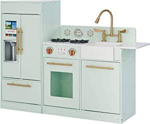 Teamson Kids Little Chef Chelsea Modern Play Kitchen Toddler Pretend 2 pcs Play Set with Accessories and Ice Maker Mint Gold