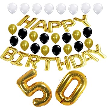50th Birthday Party Decorations Kit Happy Balloons 50 Number Gold Foil Balloon Balck White