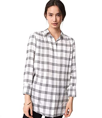 2552e7383 Ann Taylor LOFT - Women's - Black/Whisper White Plaid Tunic Blouse/Shirt (