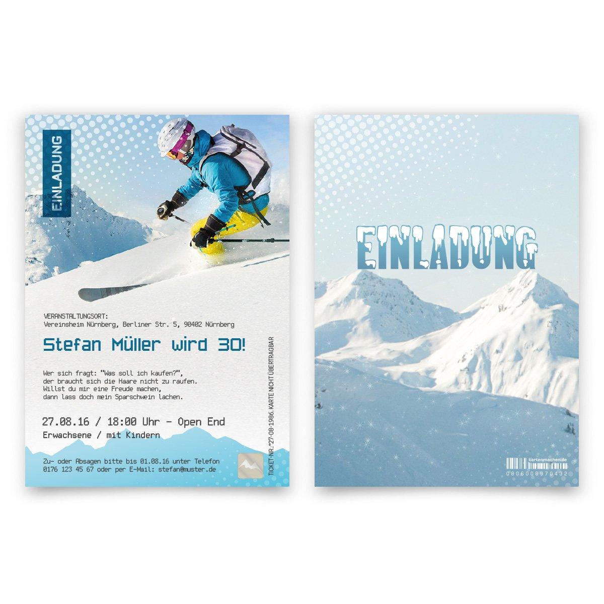 100 x Einladungskarten Geburtstag Skipass mit eigenem Foto Apres Ski Hüttengaudi B0756YR1H4 | Discount  | Praktisch Und Wirtschaftlich  | Angenehmes Gefühl