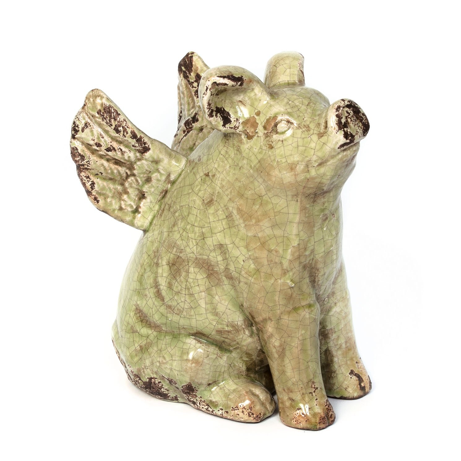 Skalny 82163GRN Green Ceramic Pig w Wings Statue Figure, 10.5 x 5.5 x 8.25 ,