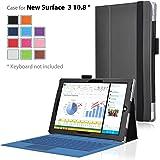 Microsoft Surface 3 ケース IVSO® Microsoft Surface 3PUレザーカバー  超薄型 最軽量 ハンドストラップ付+スタンド機能付 - Microsoft Surface 3 専用ケース (ブラック)