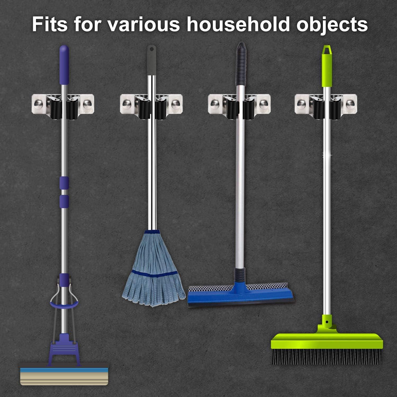 Favbal Mop Broom Holder,4pcs Stainless Steel Wall Mounted Organizer Non-Slip Screws or Self Adhesive Storage Rack Hangers