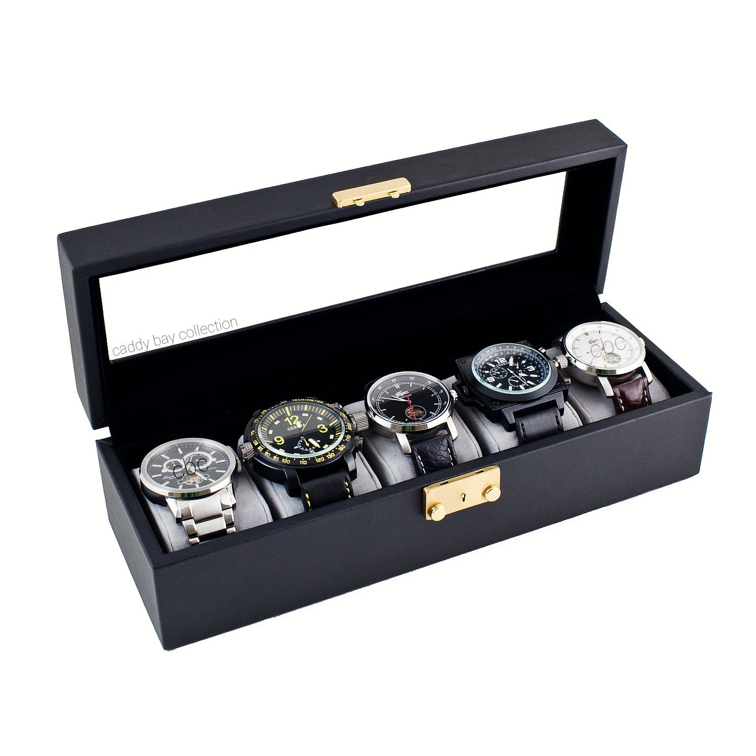 Caddy Bay Collection Compact Black Watch Case Storage Box With Glass Top Holds 5 Watches