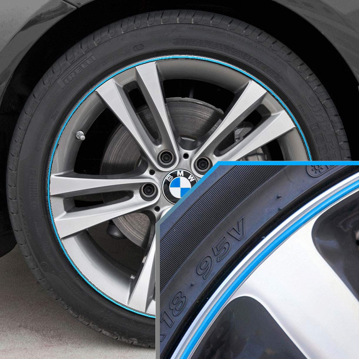 Upgrade Your Auto Wheel Bands Sky Blue in Silver Pinstripe Rim Edge Trim for BMW I3 (Full Kit) by Upgrade Your Auto
