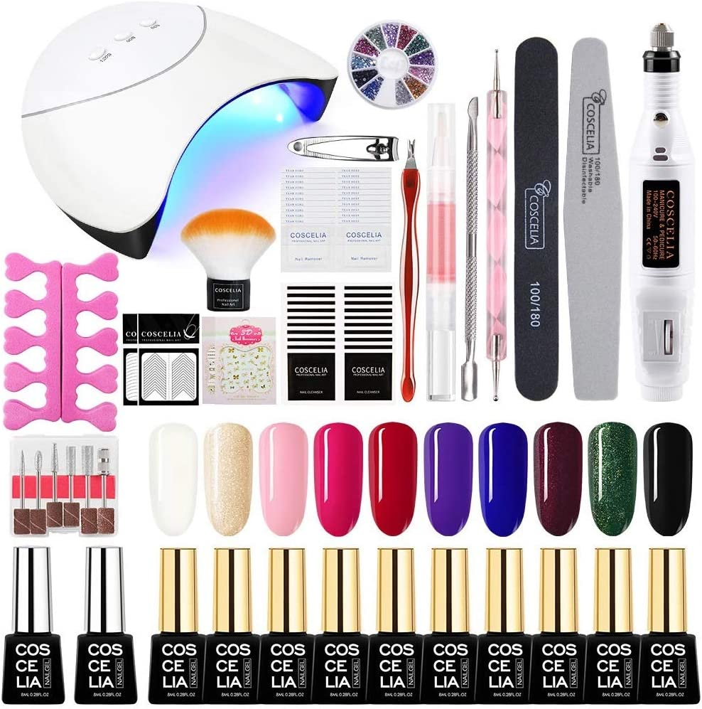 Saint-Acior Esmalte Semipermanente Soak off 8ml 10pcs Kit Uñas en Gel 36W UV/LED Secador de Uñas Lámpara Uñas Pulidor Taladro Nail Pulidora 10pcs Top Coat Base Coat Manicura Pedicura Kit