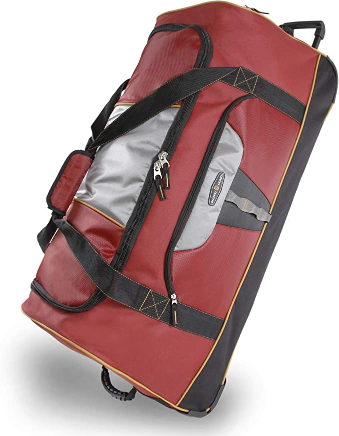 Pacific Coast Signature 35 Extra Large Rolling Duffel Bag Burgundy One Size Travel Duffels