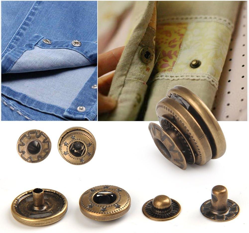 POKIENE 50 Set Bottoni a Pressione Fermagli con 9 Strumenti di Fissaggio per Jeans in Pelle Tessuto Fai da Te Bottone a Scatto in Metallo 12,5 MM