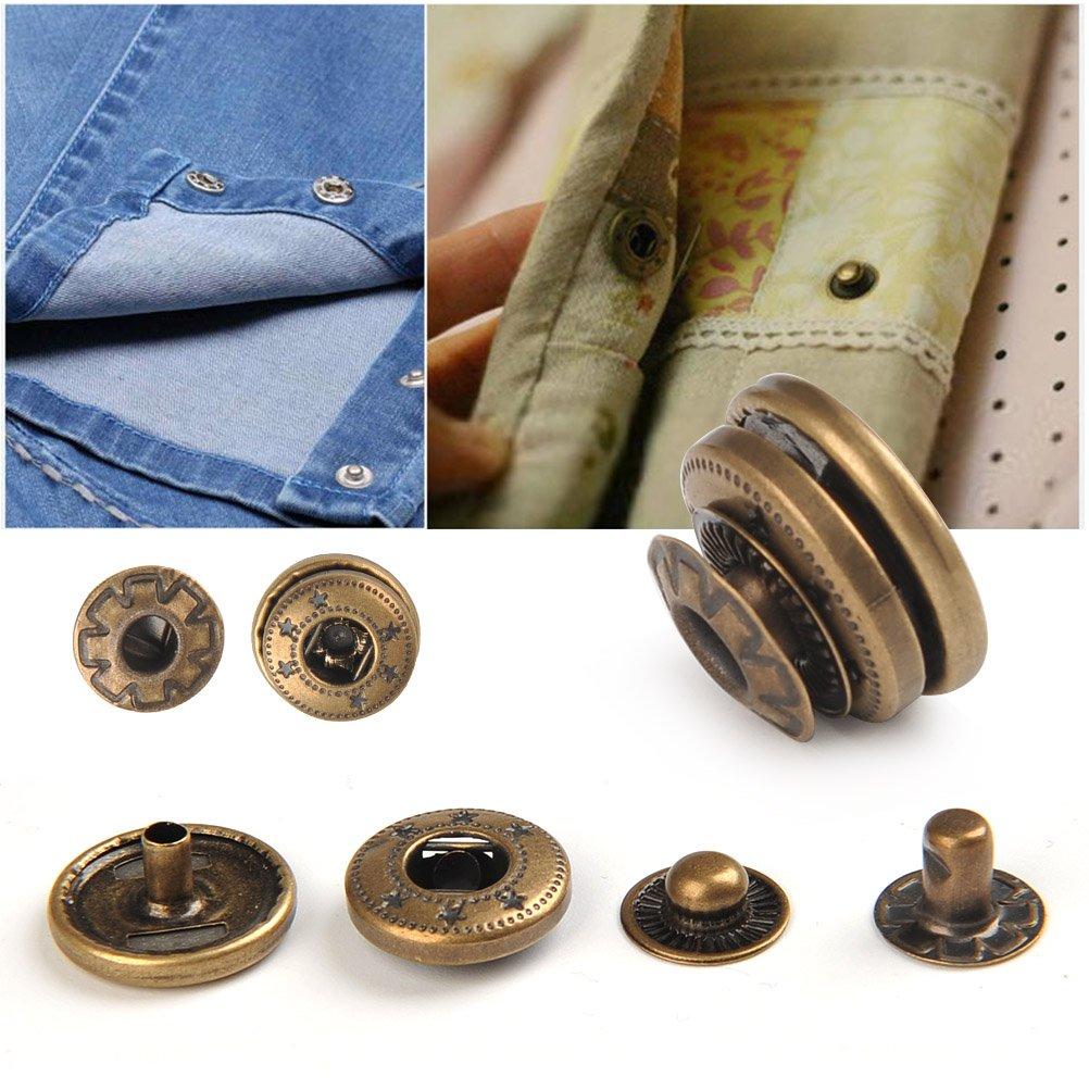 WOWOSS 50Pcs Bouton Pression M/étal Double Cap Tubulaire Goujons en M/étal 9Pcs Outil de Fixation pour DIY lArtisanat Rivets de Remplacement D/écoration de Robe