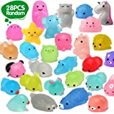 ORWINE Squishies 28pcs Mochi Squishys Toys 2nd Generation Party Favors for Kids Birthday Gift for Girl Boy Glitter Mini Squis