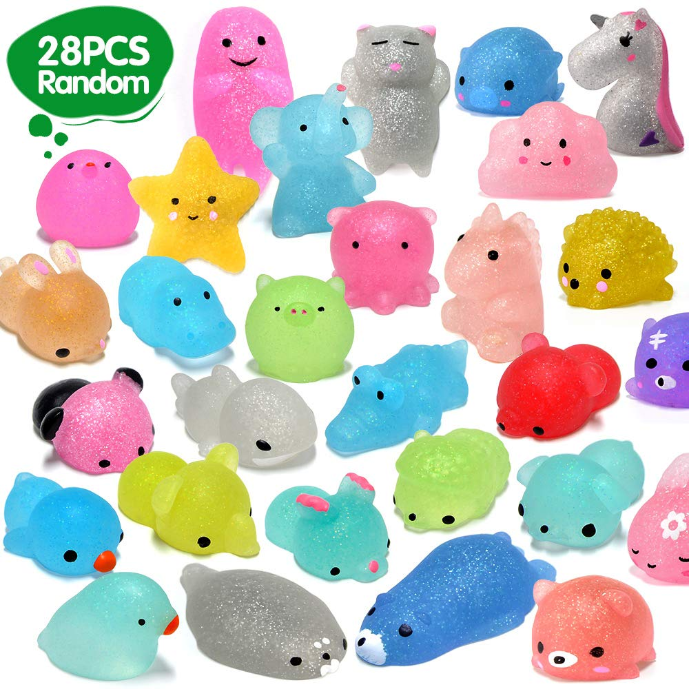 ORWINE 28pcs Mochi Squishy Toys 2nd Generation Glitter Mini Squishy Mochi Party Favors for Kids Kawaii Animal Squishies Unicorn Panda Cat Stress Relief Toys Birthday Gifts for Girls & Boys, Random