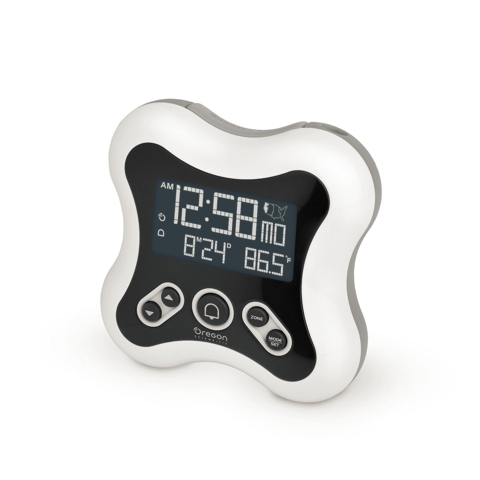 Oregon Scientific RM331P White Projection Atomic Time Alarm Clock with Temperature Calendar for Home Office Bedroom