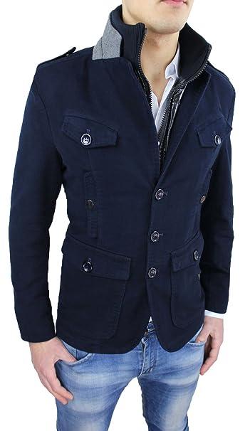 AK collezioni Cappotto Giacca Uomo Blu Slim Fit Casual Giubbotto Giaccone  Invernale con Gilet Interno  Amazon.it  Abbigliamento 05e54544117