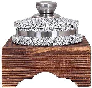 Soup casserole Korean Granite Stone Bowl With Lid,Heavyduty Granite Stone Bowl With Wood Base,Donabe Rice Cooker,Ceramic Pot Casserole,Clay Pot For Korean Cuisine Stone Diameter20cm bibimbap bowl HUAN