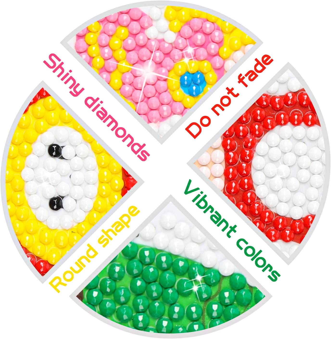 ANGOLIO 5D DIY Diamond Painting Kits 12PCS Mario Themed Stick Full Drill Diamonds Paintings by Number Shine Sparkle Mosaic Stickers DIY Handmade Art Craft Rhinestone Role Stikcers for Kids