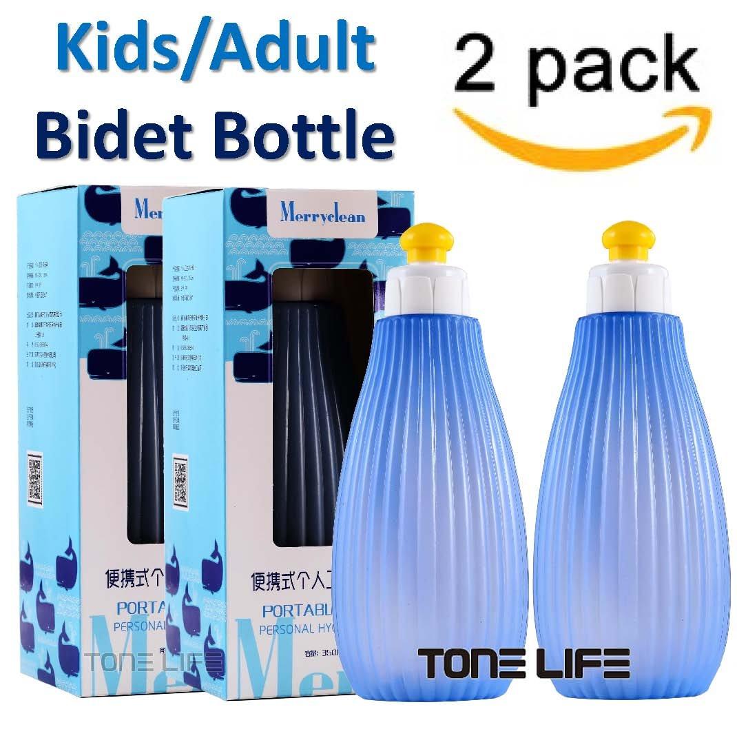 TONELIFE 2PCS Pack Kids/Adult Portable Bidet Sprayer - Travel Bidet Bottle with Convenient ON/Off Nozzle - Baby Bidet Bottle, 350 ml Capacity,English Maunal by Tonelife