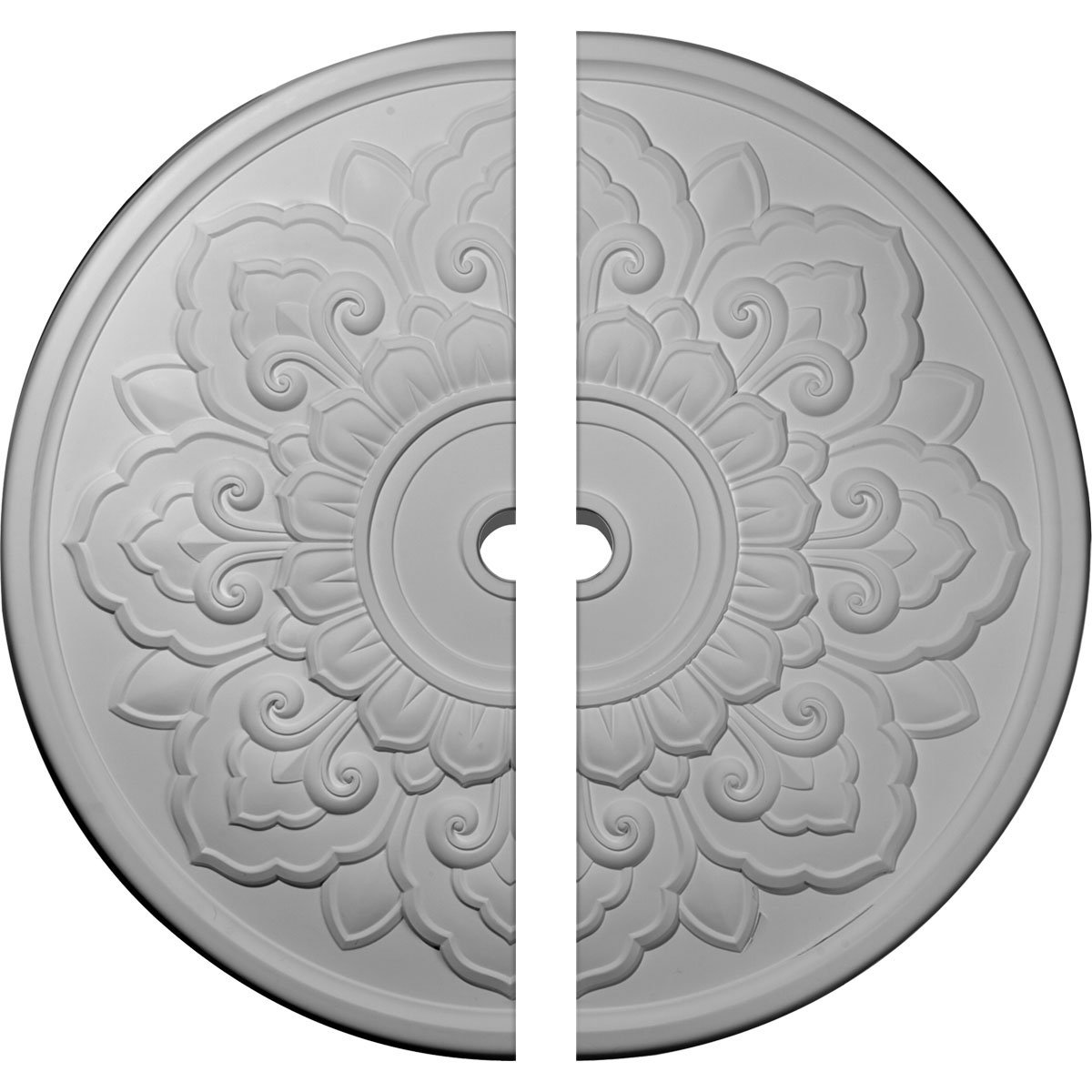 Ekena Millwork CM50LO2 50 OD x 3 5/8'' ID x 1 3/4'' P Lorry Ceiling Medallion, Two Piece (Fits Canopies up to 14 1/8''), Factory Primed White