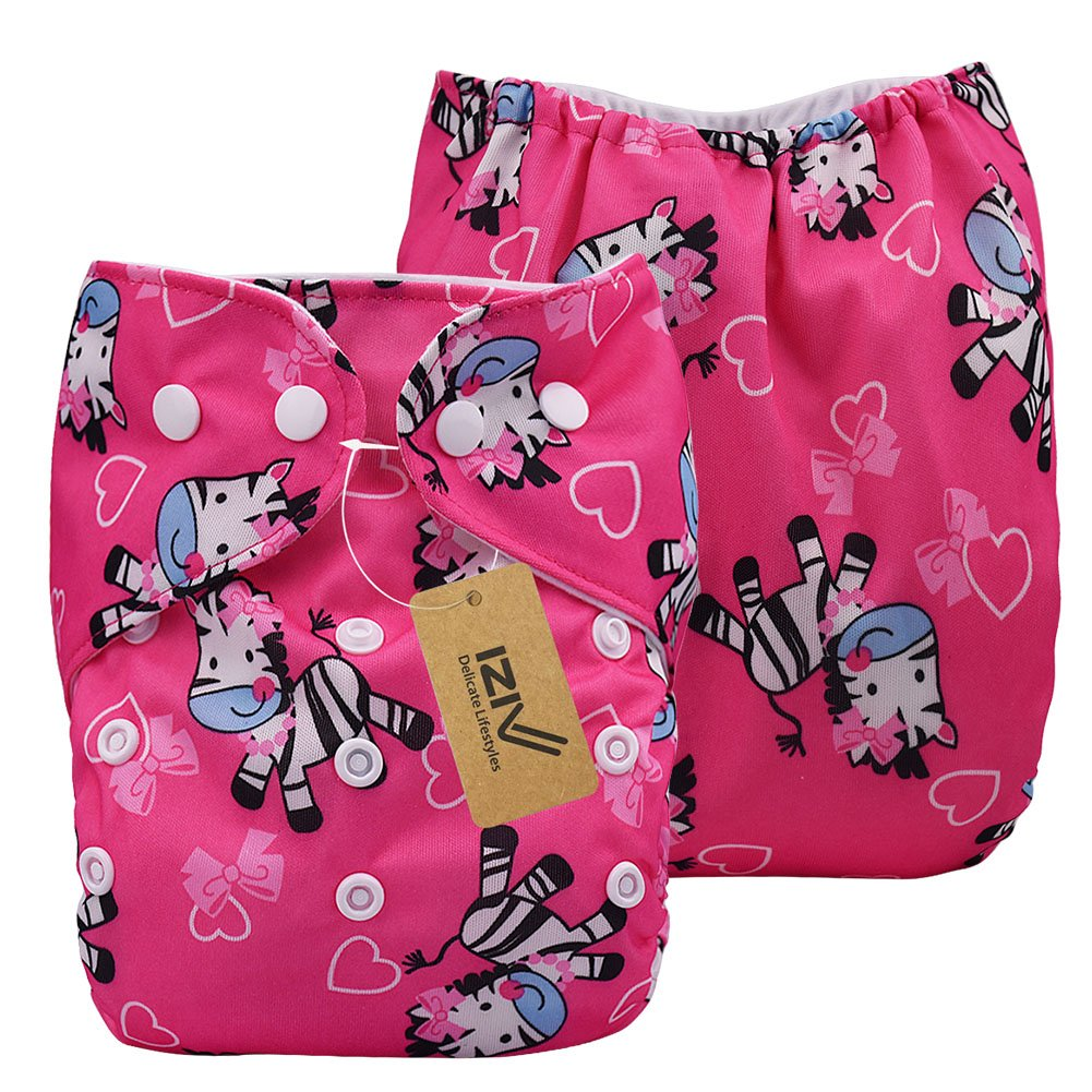 Newborn Organic with 1 Thick Insert Infant Waterproof//Adjustable//Reusable//Washable Pocket Cloth Diaper Fit Babies 0-3 Years Color-4 TM iZiv