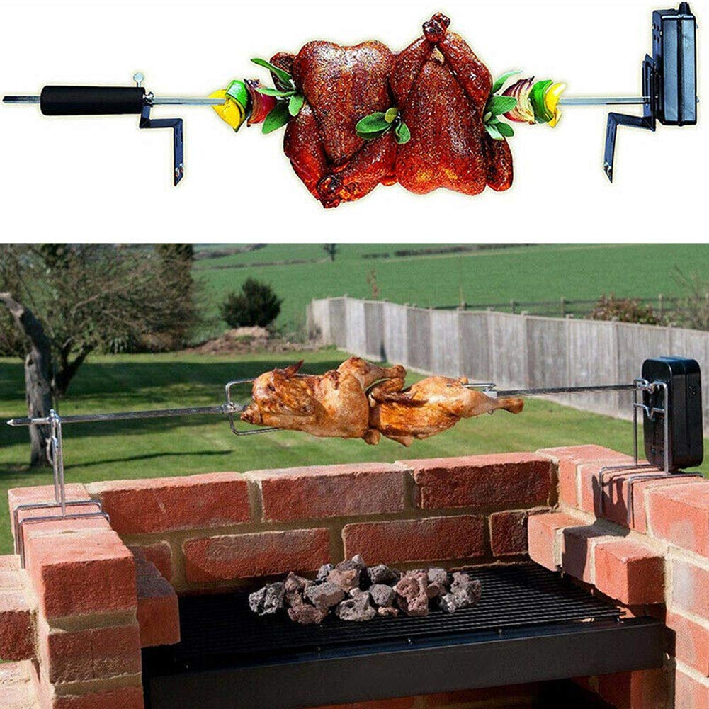 Gebuter Universal Grill Rotisserie Kit Complete BBQ Kit with Spit Rod Meat Fork Electric Motor