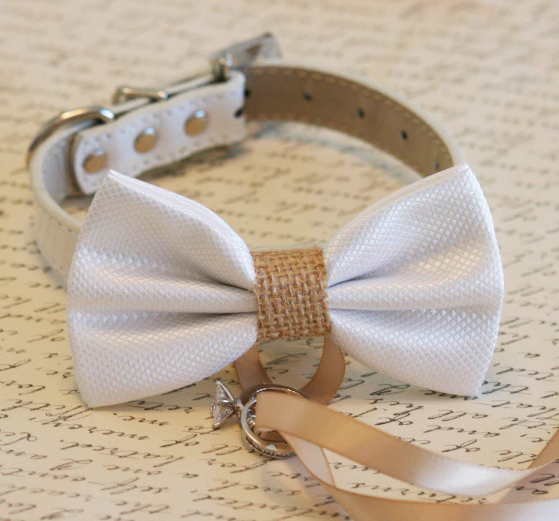 Dog Bow tie Burlap dog bowtie Dog Ring bearer Dog wedding bow tie 4 Collar colors to choose from Burlap dog bow tie XXS- XXL