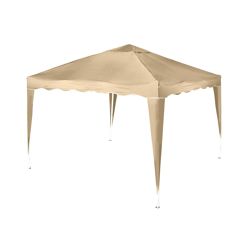 Vanage Pavillon Stella beige aus Aluminium ohne Seitenwände, 300x300x260cm, Faltpavillon einsetzbar als Gartenpavillon, Party- und Festzelt, Camping- und Festival-Zelt, Gartenmöbel