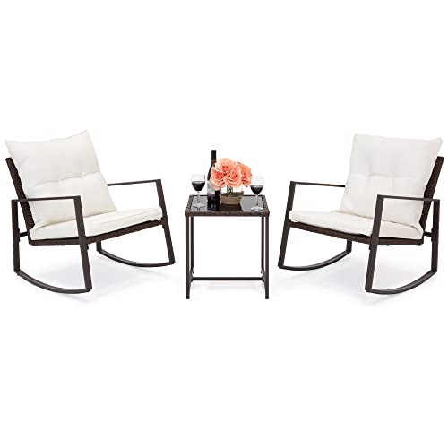 Best Choice Products 3-Piece Wicker Patio Bistro Furniture Set w 2 Rocking Chairs and Glass Side Table, Beige
