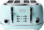 HERITAGE 4-Slice, Wide Slot Toaster with Browning Control, Cancel, and Defrost Settings in Light Blue Turquoise