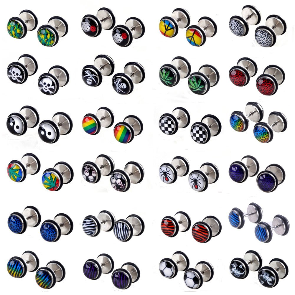 c1701ec9b Amazon.com: Shuning 24pcs Cheater Fake Ear Plugs Satinless Steel Gauges  Illusion Tunnel Piercing Stud Screw Earrings 12Style: Jewelry