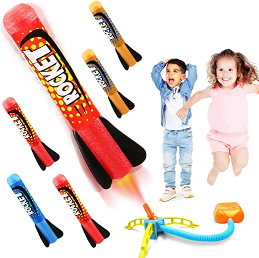 Dstper Rocket Launcher Toys,Include 4 Rockets-Outdoor Jump Rocket Launcher Toy for kids 6, 7, 8 and Up Boys and Girls Great Ideal Birthday Gift Toys for Ages 5
