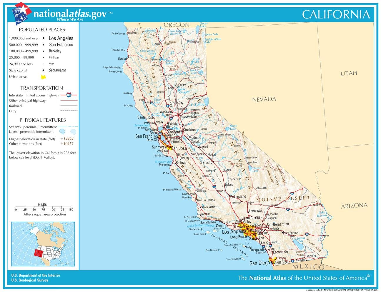Amazon.com: Gifts Delight Laminated 28x21 Poster: Map of California NA: Posters & Prints
