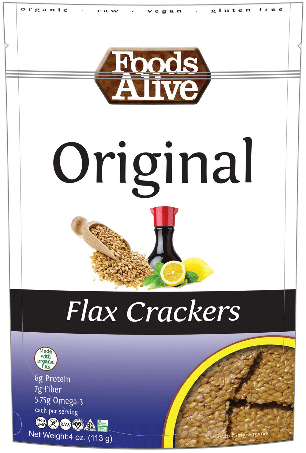 Foods Alive - Organic Golden Flax Crackers Original - 4 oz