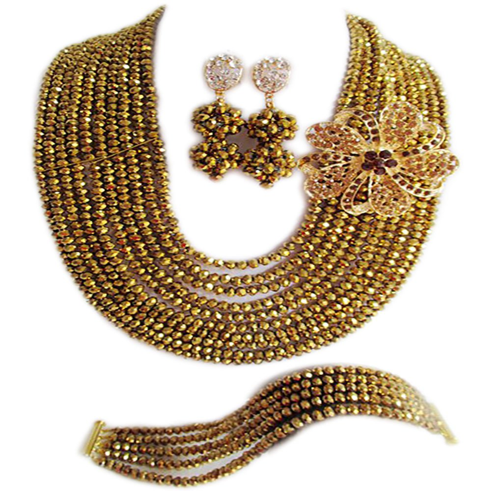 Nigerian Wedding African 10Rows Gold Plated Bridal Jewelry Sets LCF061