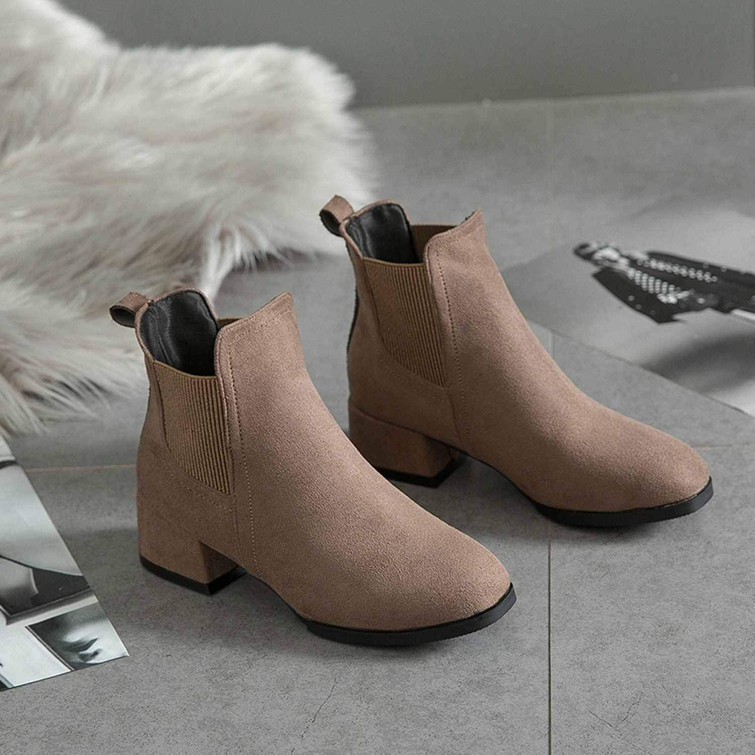 Amazon.com | 2018 Black Ankle Boots Women Thick Heel Slip on Ladies Shoes Martin Boots Feminina High Heel Shoes | Shoes