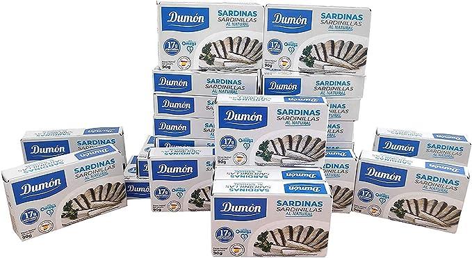 Dumón - 25 unidades de 90 gramos de Conservas de Sardinas al Natural. Conserva de Pescado Alta en Proteínas, Sardinillas premium. Pescado en Lata en ...