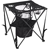 Lazy Daze Hammocks Patio Outdoor Collapsible Camping Foldable & Portable Tailgate Table with Insulated Cup and Cooler Holder