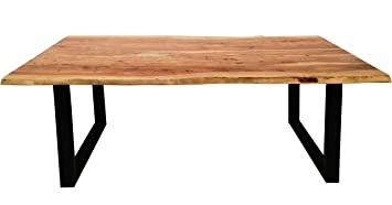 Esszimmer Tisch Mit Metall Fuß Aus Massiv Holz 200x100 Cm Recht Eckig