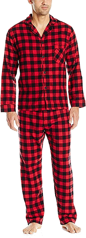Hanes Mens Flannel Pajama Set-Red Buffalo Plaid