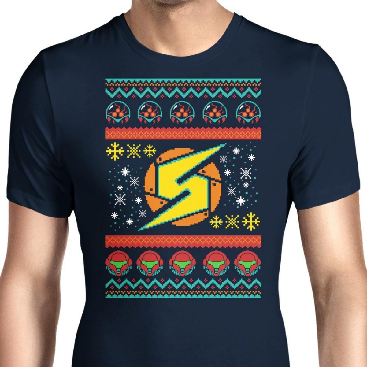 HONGRONG Mens A Metroid Christmas Unique Design Tshirt Fashion Tee
