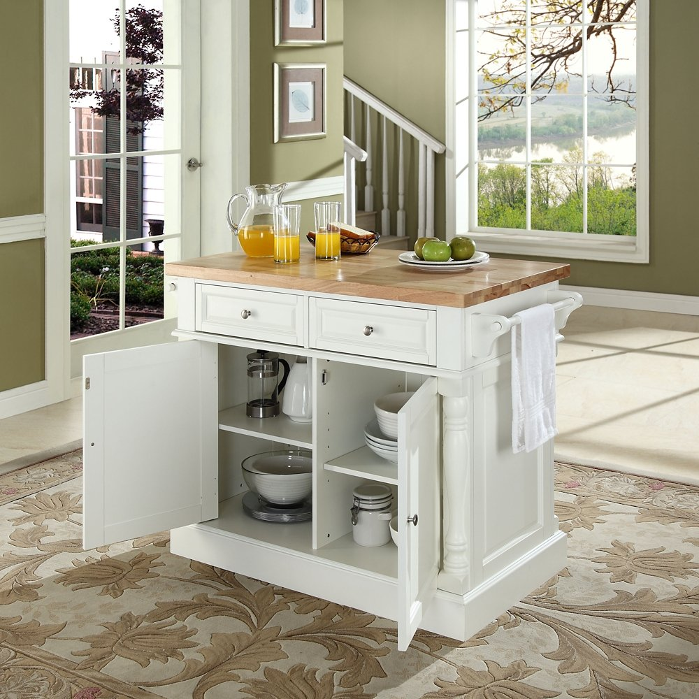 Amazon.com: Crosley Furniture Butcher Block Top Kitchen Island in ...