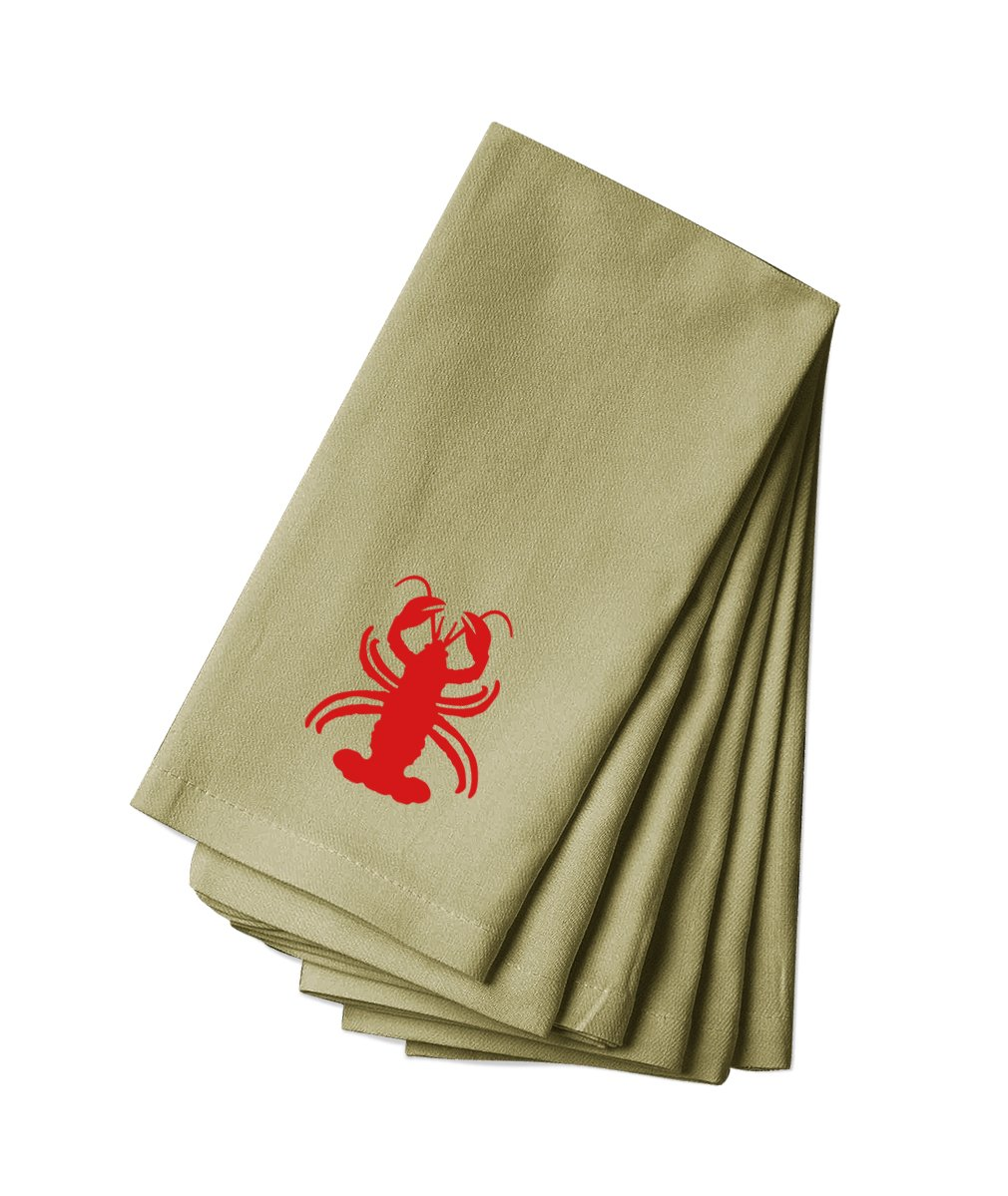 Style in Print Cotton Canvas Dinner Napkin Set Of 4 Lobster Animal Image By