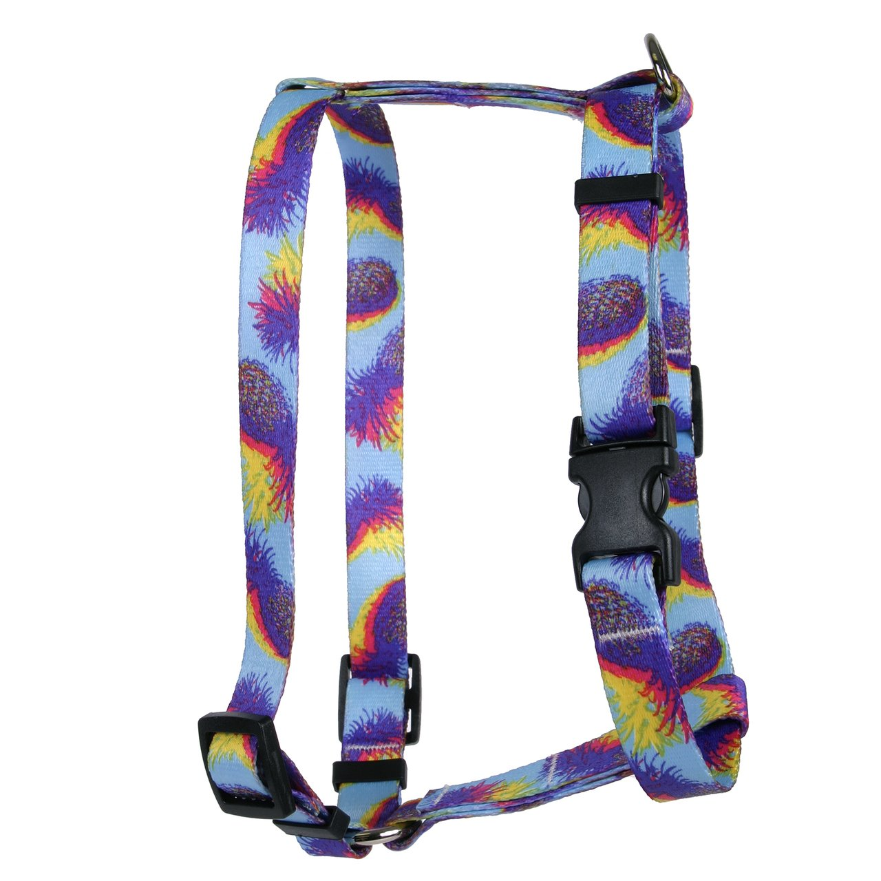 Yellow Dog Design Pineapple Daze Roman Style H Dog Harness, X-Small-3/8 Wide and fits Chest of 8 to 14''
