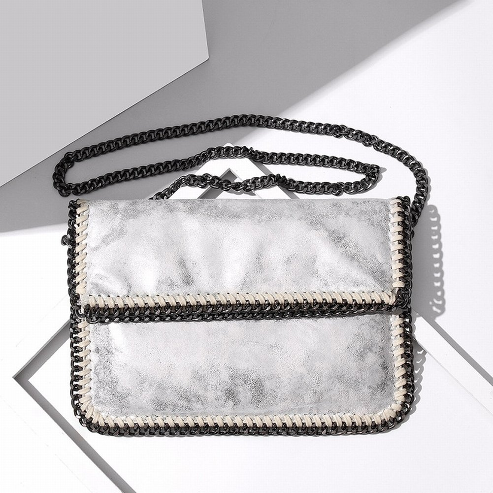 Weibliche Handtasche Schulter Diagonal Klappkette Tasche Handtasche , Silber-