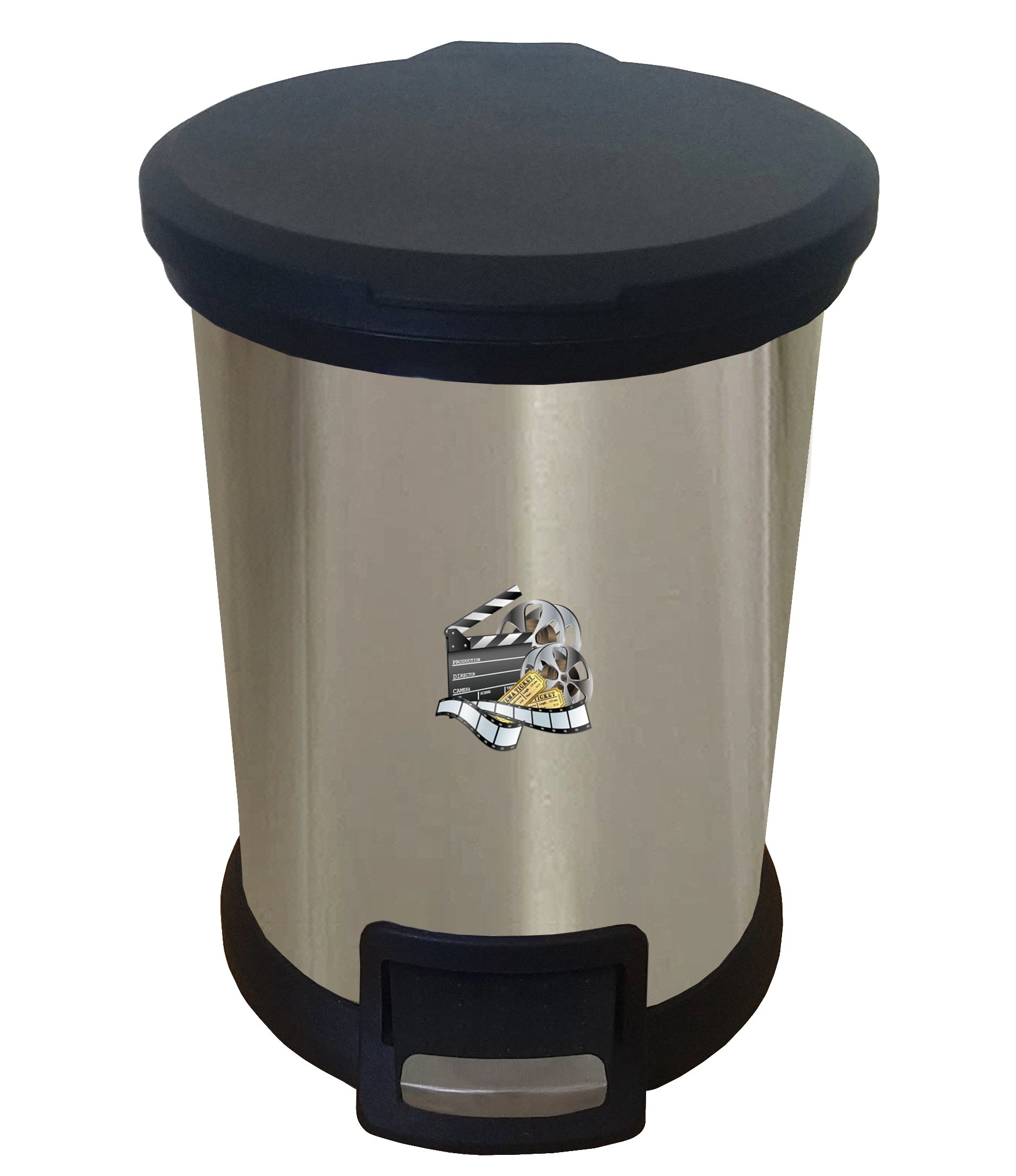 The Furniture Cove New 1.3 Gallon Round Stainless Steel Step Trash Can Waste Basket Featuring Your Choice of a Novelty Themed Logo! (Movie Reel)