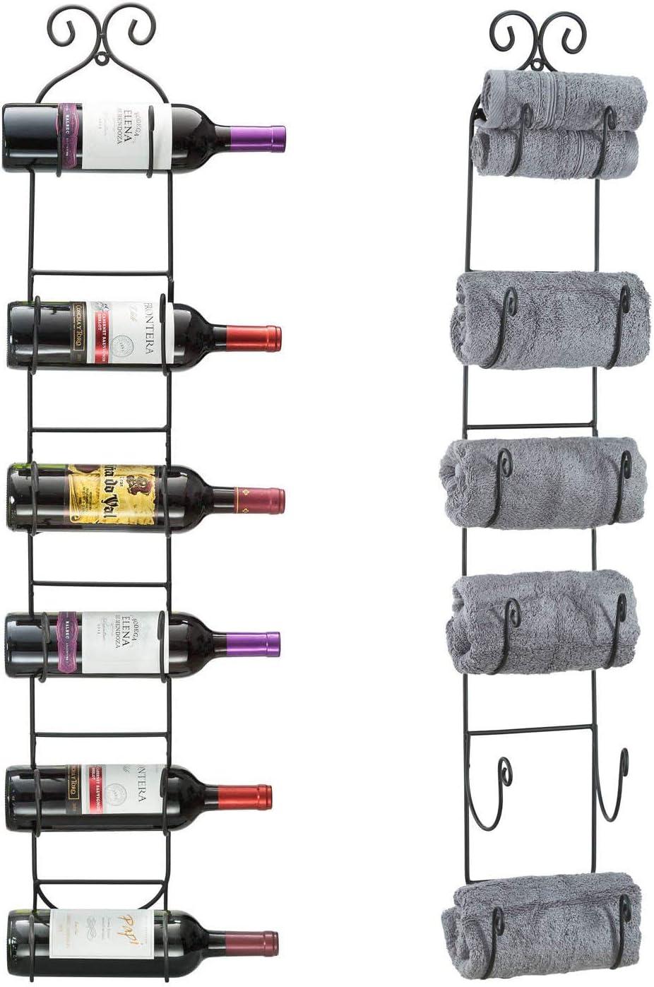 Wall Mounted 5 Bottles Home Bar Metal Wine Towel Rack Display Storage Holders